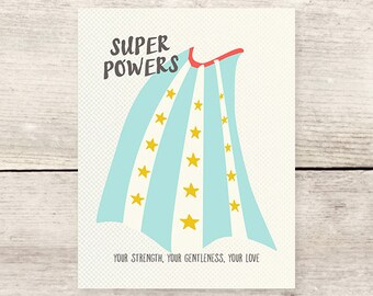 Super Powers Cape Greeting Card, Mother's Day Super hero card, Father's Day card