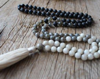 108 beads, Hand knotted Yoga Mala,Lava stone, Rainbow Labradorite, Moonstone. Handmade Cotton Tassel. Vegan mala.