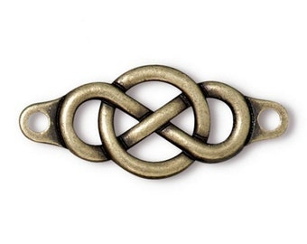 2 TierraCast Infinity Centerpiece 1 and 3/8 inch (35 mm) Brass Plated Pewter Links