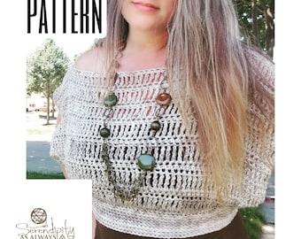 Crochet PATTERN Women's Off The Shoulder Crop Top | Boho Summer Crop Top Crochet Pattern | Crochet Womans Slouchy Top | PDF Digital Download