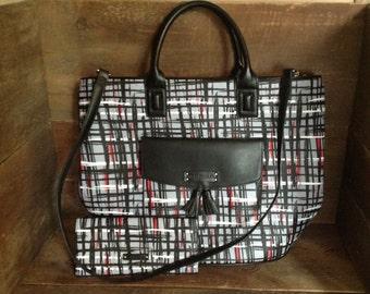 Vera Bradley Art Plaid Tassel Tote  and wallet in Gray, black & red