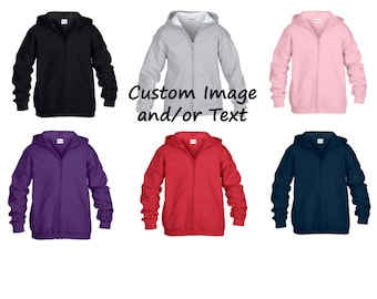 Custom Youth Zip Up Hooded Sweatshirt/Custom T-shirt/Customized Childrens Tee/Custom Kids Tees/Custom Youth Sweatshirt