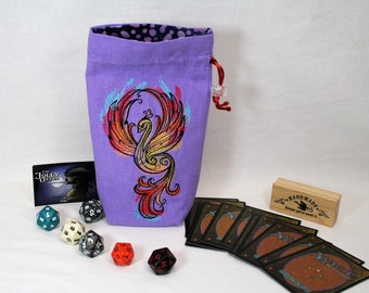 Dice Bag, Flat Bottom with Embroidered Phoenix in Oranges and Reds on Lavender,4x8x2, Drawstring Closure