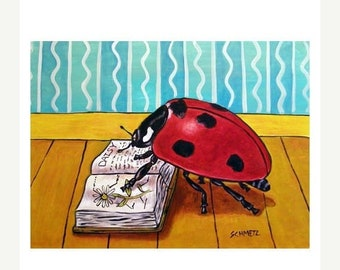 LadyBug Reading a Book Insect Art Print 8x10