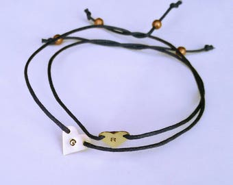 Pair of customizable brass hearts bracelets