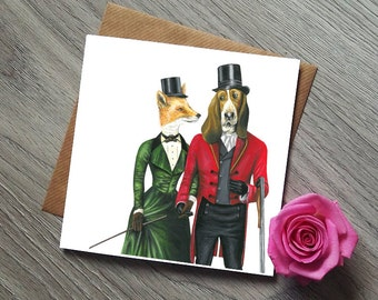 Fox and the Hound Valentines Card - Valentines Card - Unique Wedding Card - Funny Wedding Cards - Funny Engagement Card - Anniversary Card