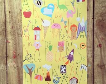 A3 unframed colourful alphabet poster