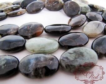 Natural Green Jasper Smooth Puffed Oval Beads, green jasper, jasper gemstone strands, natural gemstones - reynaredsupplies