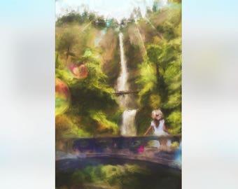 Multnomah Falls art print, Multnomah Falls, Columbia River Gorge, waterfall painting, Multnomah Falls watercolor, Multnomah Falls Oregon