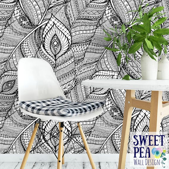Boho Feather Removable Wallpaper Illustrated Tribal Self Adhesive Bohemian Temporary T126 27