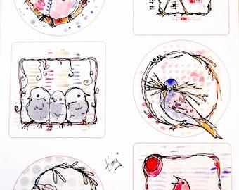 A4 - birds collage sheet