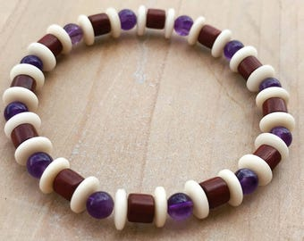 Men's Bracelet, Amethyst Bracelet, Rosewood Bracelet, Boho Bracelet, Yoga Bracelet, Mala Bracelet, Wrist Mala, Men's beaded Bracelet