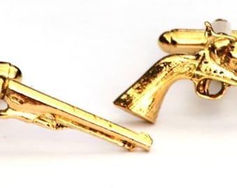 Old Pistol Gold Plated Cufflinks UK Handmade Gift