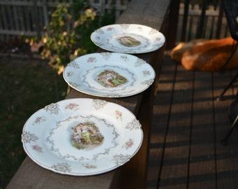 Side Plates, 3 Neo-Classical, Bavarian Side Plates, Zeh Scherzer Co, Antique Plates, Antique Porcelain, Cottage Charm, Cottage Chic
