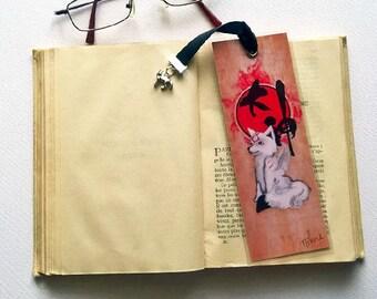 Bookmark Okami Amaterasu - illustrated, laminated, handmade