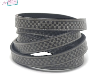 "1 m cord strap split leather 10 x 2 mm ""chessboard"", grey"