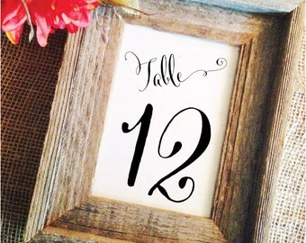 Printed elegant Wedding Table Numbers Wedding Table  Decor Wedding Decoration Wedding Centerpieces (Frame NOT included)