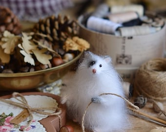 White hamster art doll room decor Knitted hamster gift for girlfriend miniature hamster stuffed animal gift for her birthday gift ideas toy