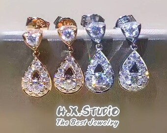 Solid 18K Gold Diamond Tear Drop Dangle Earrings, 18k Diamond Pear Shape Earring, Wedding/Bridal/Bridesmaid Earring, Gift for Her, Wholesale