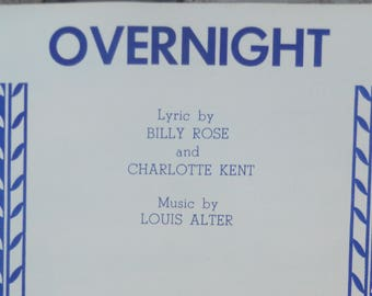 "1958 ""Overnight"" Sheet Music by Louis Alter"