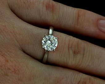 FOREVER ONE D-F Color Moissanite Certified 7mm/1.25 Carats Round Cut 14K White Gold Solitaire Engagement Ring (Bridal Wedding Set Available
