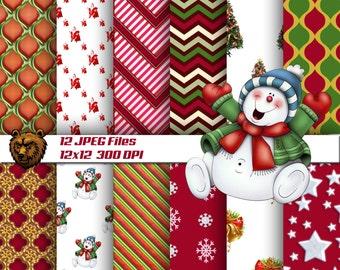 Christmas digital paper, download, background, scrapbook