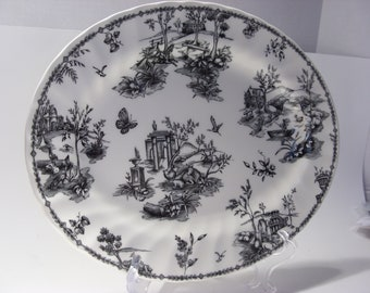 Black and White Transferware Platter Scenic Houses, Horses, Cows, Birds and More Churchill China Made in England