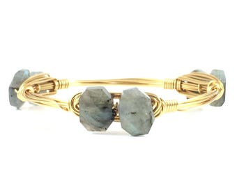 Labradorite Cluster Wire Wrapped Bangle - Fall Wire Jewelry - Gemstone Bangle - Gifts Under 25 - Gift For Her - Courtney And Courtnie