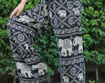 Womens Palazzo Pants Wide Leg Pants Women Boho Yoga Pants Black Elephant