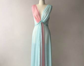 VANITY FAIR two tone chiffon & satin nightgown / pastel pink and blue / size 36 / M