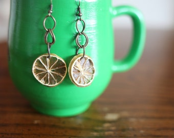 Dried fruit jewelry, real fruit earrings, spring earrings, lime earrings, nature earrings, real fruit jewelry