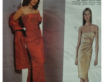 Strapless Evening Gown Pattern, Fitted, Boned, Bodice Side Pleat, Slit, Bellville Sassoon, Vogue Designer No.2481 Size 8 10 12