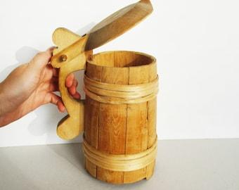 Wood Beer Stein, Wooden Tankard, Beer Mug with Lid, Hand Made Estonian Folk Art Decor, NOT Holding Liquid