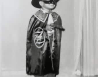 Vintage 1950's African American Black Child Zorro Costume Halloween Snapshot Photograph - Free Shipping