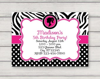 Zebra invitation Etsy