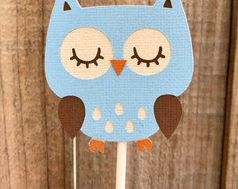 Blue Owl Cupcake Toppers