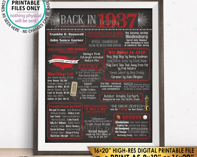 "1937 Flashback Poster, Flashback to 1937 USA History Back in 1937 Birthday Party, Red & Gray, Chalkboard Style PRINTABLE 16x20"" Sign <ID>"