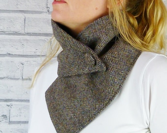 Harris Tweed Buttoned Scarf - Multi Autumnal Colours