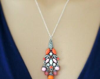 Silver Necklace - Orange Necklace - Pink Necklace - Layering Necklace - Rhinestone Necklace - Colorful Necklace - Boho Necklace