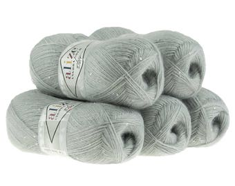 5 x 100g sequined yarn Angora gold Star #21 Grey