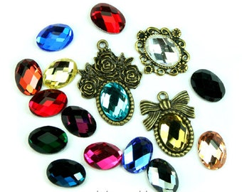 Mirror Glass Cabochon Cab Oval 10x14mm Checker Cut Faceted Dome -Pick Your Colors- 4pcs