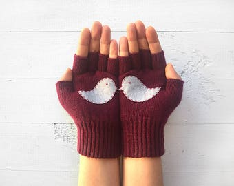 Love Birds Gloves, Inspirational Gift, Mother's Gift, Fingerless Gloves, Mother's Day Gift, Inspirational Women Gift, Gift For Her, Mitten