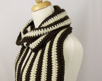 Crochet Scarf Striped, 2 Color Scarf, Scarf for Men, Long Scarf