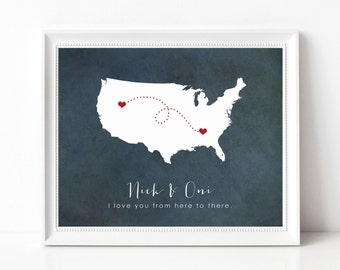Long Distance Relationship Gift Print - Long Distance Boyfriend, Girlfriend, Best Friend, Family - Personalized State Silhouette Print