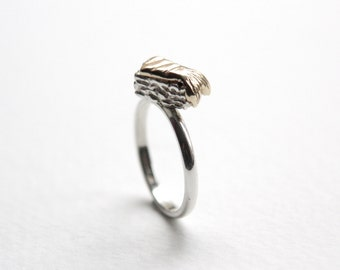 Sushi Fish Tail Ring, Handmade in Sterling Silver & 9ct Yellow Gold, Kawaii Miniature Food, Made in Brighton, uk
