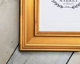 Plein Air Gold Wood Picture Frame with White Mat 8x10, 9x12, 11x14, 14x16, 16x20 Custom Standard and custom sizes available.