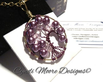 Tree of Life Necklace, Pink, Magenta and Gold, Crystals and Pearls
