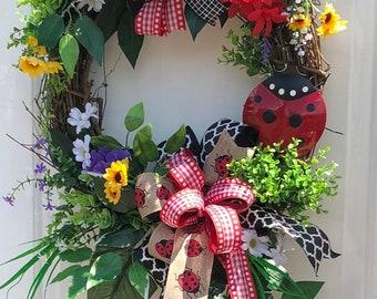 Lady Bug Wreath , Farmhouse Decor, SummerWreath, Sunflower Wreath,Sassy Doors Wreath,Grapevine Wreath, Front Door Wreath, Welcome Wreath