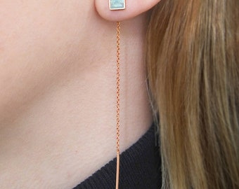 Rose Gold Threader Earrings, Aqua Chalcedony Ear Threads, Aqua Rose Gold Earrings, Geometric Cut Gemstone, Rose Gold Dangly Earrings, Embers