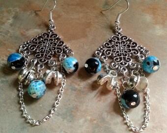 Pretty Bohemian Blue Agate Dangle Earrings